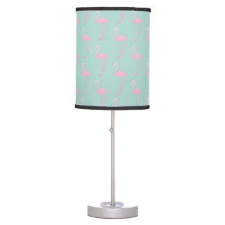 Pink Flamingo on Teal Seamless Pattern Table Lamp