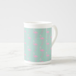 Pink Flamingo on Teal Seamless Pattern Tea Cup