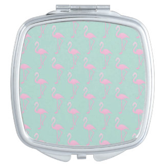 Pink Flamingo on Teal Seamless Pattern Travel Mirrors