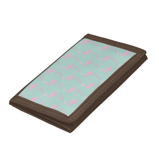 Pink Flamingo on Teal Seamless Pattern Trifold Wallet