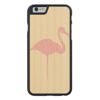 Pink flamingo on yellow lined background carved maple iPhone 6 case