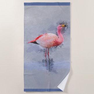 Pink Flamingo Painting Beach Towel