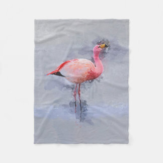 Pink Flamingo Painting Fleece Blanket