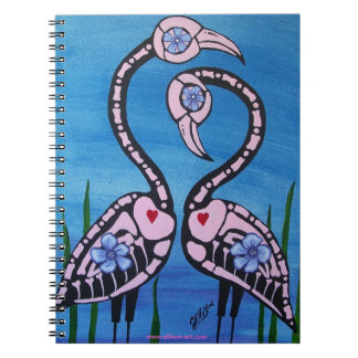 Pink Flamingo Pair Day of the Dead Note Book
