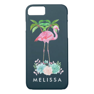Pink Flamingo Palm trees and Floral Succulents Case-Mate iPhone Case
