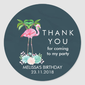 Pink Flamingo Palm trees and Floral Succulents Classic Round Sticker
