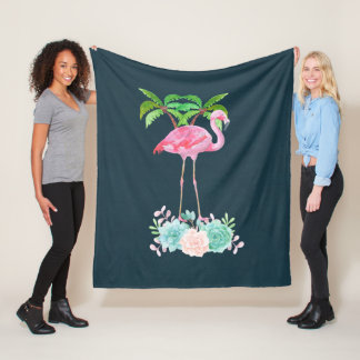 Pink Flamingo Palm trees and Floral Succulents Fleece Blanket