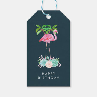 Pink Flamingo Palm trees and Floral Succulents Gift Tags