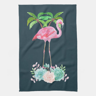Pink Flamingo Palm trees and Floral Succulents Kitchen Towel