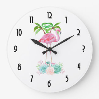 Pink Flamingo Palm trees and Floral Succulents Large Clock