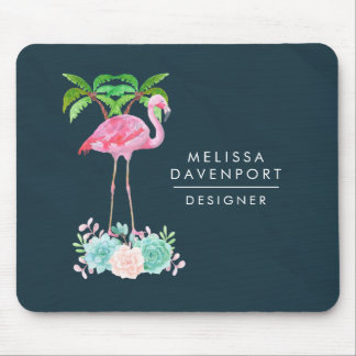 Pink Flamingo Palm trees and Floral Succulents Mouse Pad