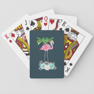 Pink Flamingo Palm trees and Floral Succulents Playing Cards
