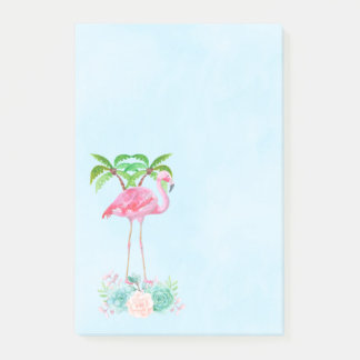 Pink Flamingo Palm trees and Floral Succulents Post-it Notes