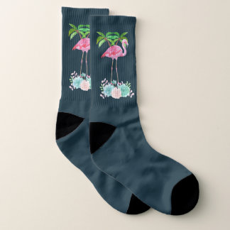 Pink Flamingo Palm trees and Floral Succulents Socks