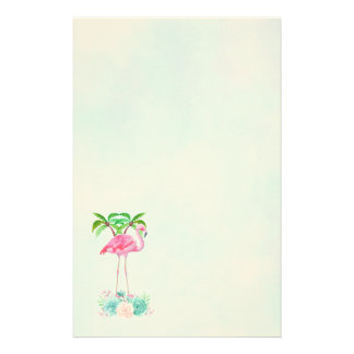 Pink Flamingo Palm trees and Floral Succulents Stationery