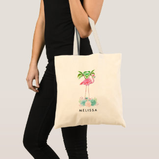 Pink Flamingo Palm trees and Floral Succulents Tote Bag