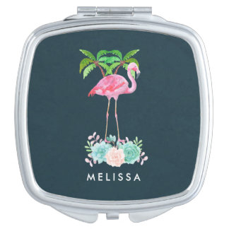 Pink Flamingo Palm trees and Floral Succulents Vanity Mirror