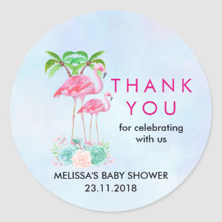 Pink Flamingo Palm trees Baby Shower Thanks Classic Round Sticker