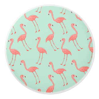 Pink Flamingo Pattern Ceramic Knob