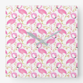 Pink Flamingo Pattern Clocks