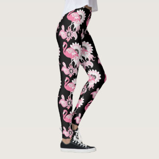Pink Flamingo Pattern Girly Cool Black Leggings