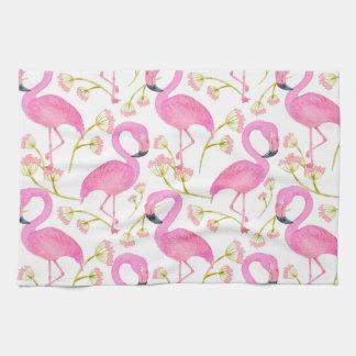 Pink Flamingo Pattern Kitchen Towel