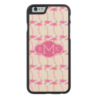 Pink Flamingo Pattern | Monogram Carved® Maple iPhone 6 Case