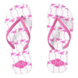 Pink Flamingo Pattern | Monogram Flip Flops