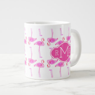Pink Flamingo Pattern | Monogram Giant Coffee Mug
