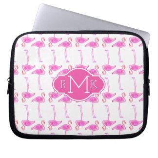 Pink Flamingo Pattern   Monogram Laptop Sleeve