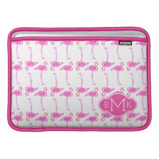 Pink Flamingo Pattern | Monogram MacBook Air Sleeve