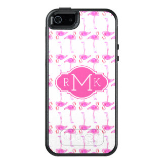 Pink Flamingo Pattern | Monogram OtterBox iPhone 5/5s/SE Case