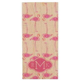 Pink Flamingo Pattern | Monogram Wood USB 2.0 Flash Drive