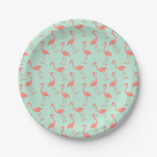 Pink Flamingo Pattern Paper Plate