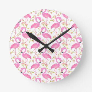Pink Flamingo Pattern Wallclock