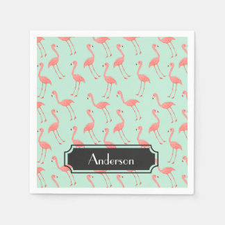 Pink Flamingo Pattern with Family Name Paper Napkin
