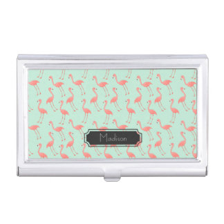 Pink Flamingo Pattern with First Name Business Card Holder