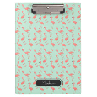 Pink Flamingo Pattern with First Name Clipboard