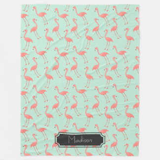 Pink Flamingo Pattern with First Name Fleece Blanket