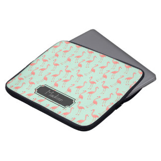 Pink Flamingo Pattern with First Name Laptop Computer Sleeves
