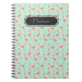 Pink Flamingo Pattern with First Name Notebook
