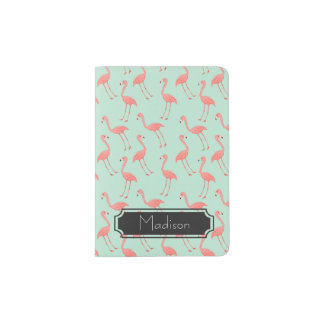 Pink Flamingo Pattern with First Name Passport Holder