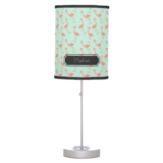 Pink Flamingo Pattern with First Name Table Lamp