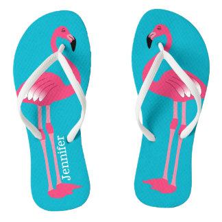 Pink Flamingo Personalized Flip Flops