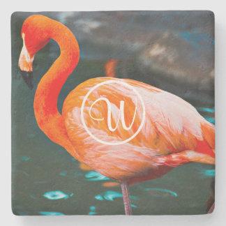 Pink flamingo photo custom monogram stone coaster