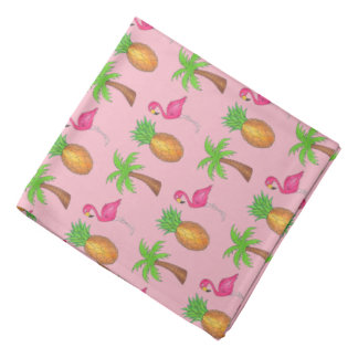 Pink Flamingo Pineapple Palm Tree Tropical Island Bandana