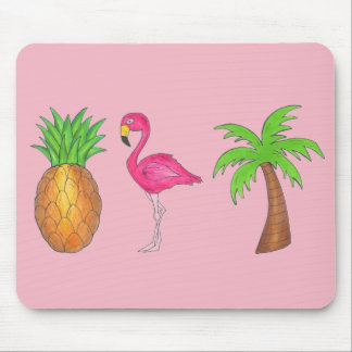 Pink Flamingo Pineapple Palm Tree Tropical Island Mouse Pad