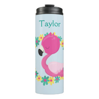 Pink Flamingo Pink and Blue Flowers Thermal Tumbler