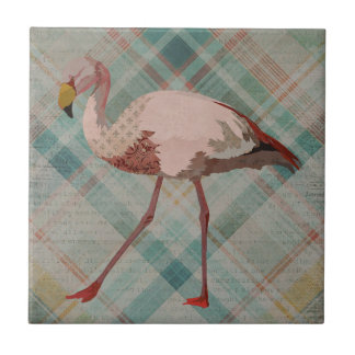 PINK FLAMINGO PLAID Tile