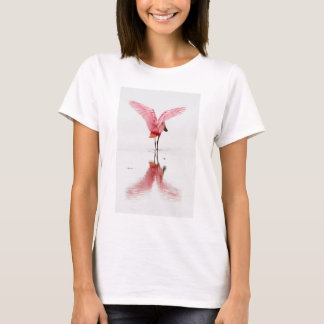 Pink flamingo reflected in water on basic t-shirt